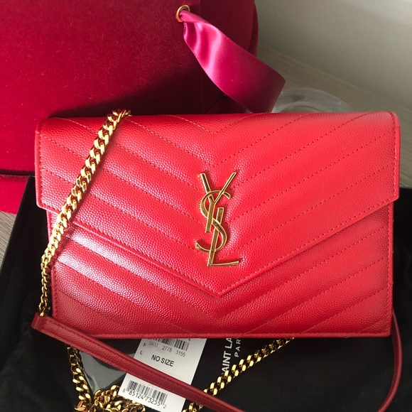 cb654ec719f Yves Saint Laurent Bags | Red And Gold Ysl Wallet On A Chain | Poshmark